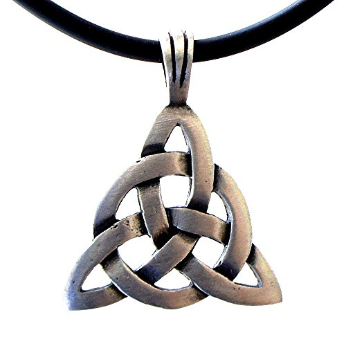 OhDeal4U Celtic Wiccan Triangle Triquetra Triskele pewter pendant Charm Amulet w necklace (Black PVC (Pewter Religious Charms)