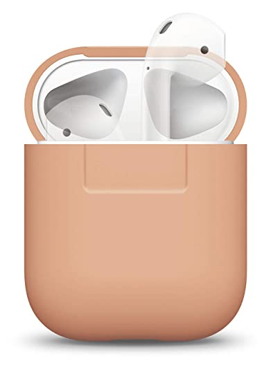 newest 53e16 ec7f6 elago AirPods Silicone Case [Peach] - [Compatible with Apple AirPods 1 & 2;  Front LED Not Visible][Supports Wireless Charging][Extra Protection] for ...