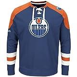 NHL Edmonton Oilers Men's Centre Long Sleeve Crew Neck Pullover Sweatshirt, X-Large, Blue Cobalt/Orange/White