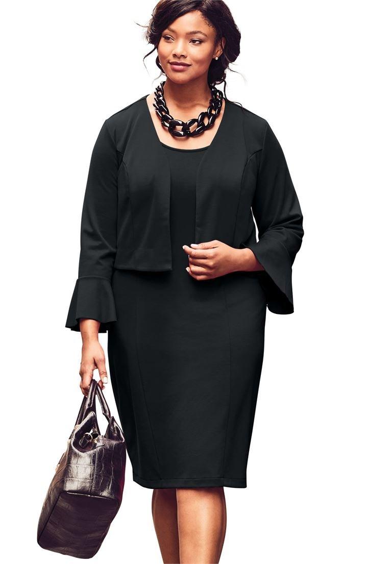 Jessica London Women's Plus Size Ponte Jacket Dress Black,18 W