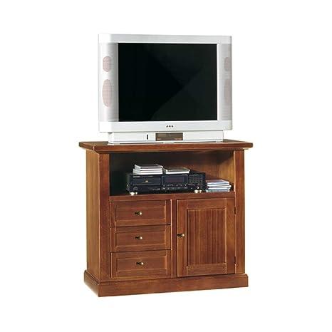 InHouse srls Mobile Porta TV in Legno massello e MDF con rifinitura in Noce Lucido 84 x 40 x 80 Mis Arte povera