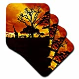 3dRose cst_173293_3 African Giraffe on African Plains At Sunset, Animal Safari Africa Ceramic Tile Coasters, Set of 4