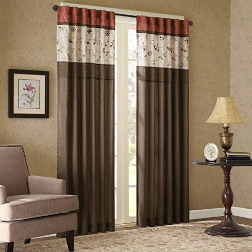 Madison Park Serene Blackout Embroidered Room-Darkening Window Treatment Curtains 1 Panel with Rod Pocket/Back Tab Drapes for Bedroom and Dorm, 50x84, Spice (Renewed)