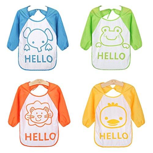 HaimoBurg 4 Pcs Long Sleeved Baby Bibs Waterproof Sleeved Bib 6-36 Months