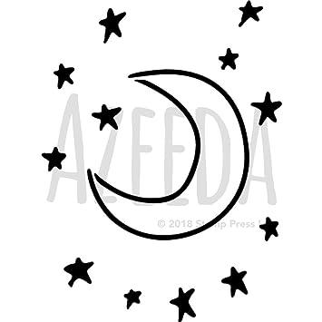 A5 \'Mond & Sterne\' Wandschablone/Vorlage (WS00006130): Amazon.de ...