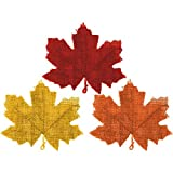 Amscan | Home Decoration | Colors of Fall Burlap Leaves w/ Wire Hanger | 5 per pack | measures 9' x 10'  | Muli colored