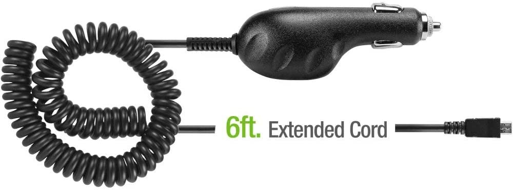 Black,1A Premium Super Car Charger Works for Plantronics A170 with Blue LED and Heavy Duty 9ft Coiled Cord with MicroUSB!
