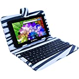 LINSAY NEW F7XHDBLKZEBRA Quad Core with Zebra Style Leather Keyboard Dual Cam 8 GB Android 4.4 Kit Kat