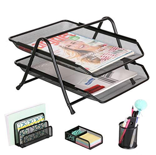 - Exerz Premium Desk Organizers Mesh Office Set Accessories 4 PCS - 2 Tier Sliding Letter Tray/Filing/Paper Tray, Letter Rack, Pen Pot, Clips & Memo Pad Holder (EX2480 Black)