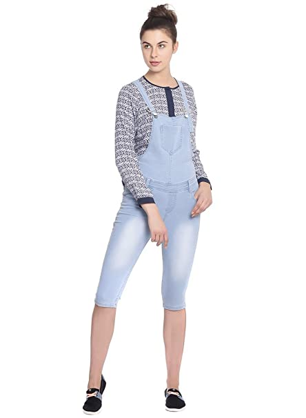 cd02c32a440 Broadstar Women Denim Light Blue Dungarees  Amazon.in  Clothing ...