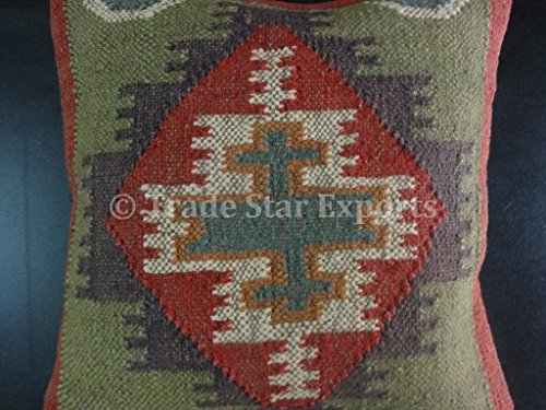 Trade Star Handwoven Kilim Pillow, Indian Outdoor Cushions , Jute Pillow Cover 18x18, Boho Throw Pillow Cases, Decorative Pillow Shams ()