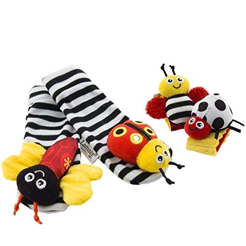 1 X Baby Wrist Rattle & Foot Finder Toys - Set of 4PCS Baby Infant Soft Toy (Rattles Toys Set)