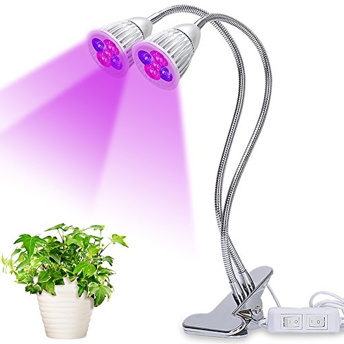 Dual Head LED Plant Grow Light,10W Clip Desk Grow Lamp with 360 Degree Flexible Gooseneck and Control Switches/Stand for Office Home Indoor Outdoor Garden Greenhouse (10W) by ONSTON