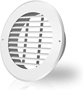 AC Infinity Wall-Mount Duct Grille Vent for 8-Inch Ducting, White Metal, Heating Cooling Ventilation and Exhaust