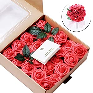 Ecosin 50 PCS Artificial Flowers Coral Roses, Gift for Anniversary/Birthday/Wedding/Valentine's Day/Mother's Day 20