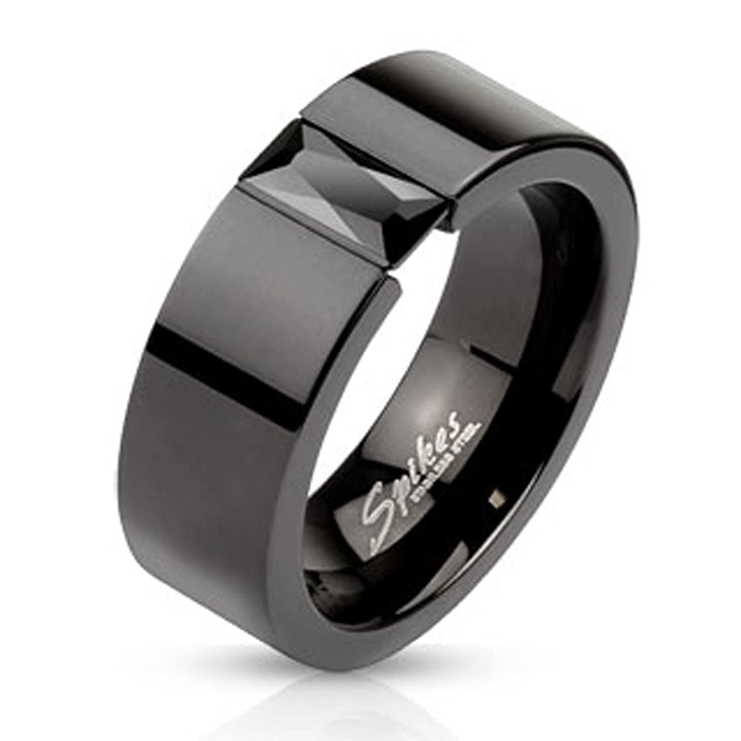 engagement stainless s and black band luxury men ring red steel of rings wedding