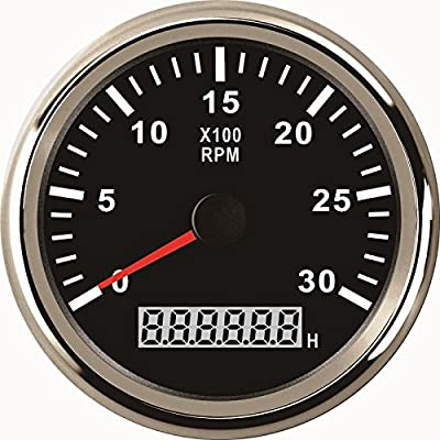 ELING Universal Tachometer RPM REV Counter RPM with Hour Meter 3000RPM 85mm 9-32V with Backlight: Automotive