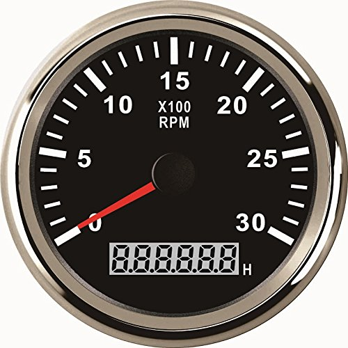 ELING Universal Tachometer RPM REV Counter RPM with Hour Meter 3000RPM 85mm 9-32V with -