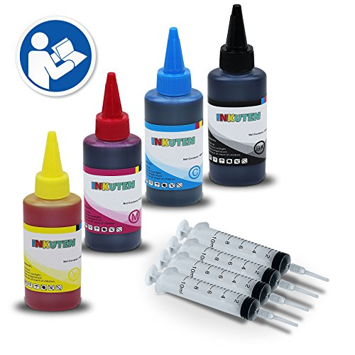 INKUTEN HP Ink Refill Tool for HP 952 952XL Ink cartridges and 4 Bottles of 100ml Dye Ink Refill Kit - Compatible With OfficeJet Pro 8710 8720 8730 8740 Printer