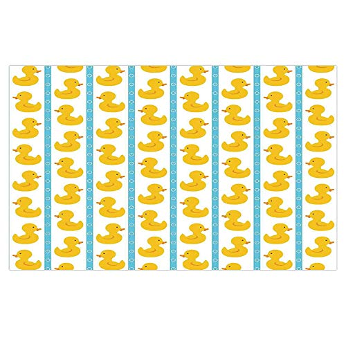 iPrint 3D Floor/Wall Sticker Removable,Rubber Duck,Yellow Duckies with Blue Stripes and Small Circles Baby Nursery Play Toys Pattern,White,for Living Room Bathroom Decoration,35.4x23.6
