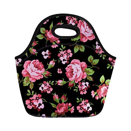 Semtomn Lunch Bags Pink Flower Floral Pattern Red Roses on Black Colorful Neoprene Lunch Bag Lunchbox Tote Bag Portable Picnic Bag Cooler Bag