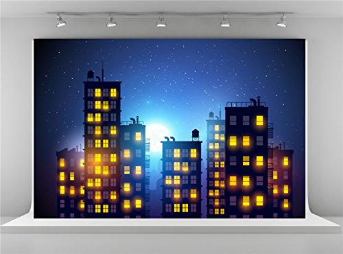 Kate 10x6.5ft City Photography Backdrops Evening Sky Stars Background Photo for Superhero Party -