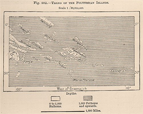 Trend of the Polynesian Islands. South Pacific Ocean - 1885 - old map -