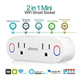 Smart Plug, Slitinto Dual Mini Wi-Fi Outlets Can Remote Control Individually, Works with Alexa Echo/Google Home/IFTTT, Smart Socket with Energy Monitoring and Timer, No Hub Required, ETL Listed-1 Pack