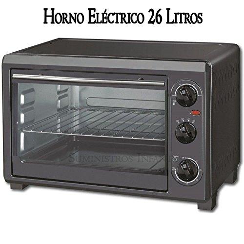 HORNO ELECTRICO 1500W, 26 LITROS, Acero inoxidable, NEGRO ...