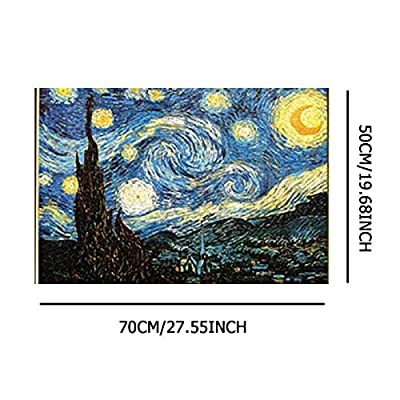 langweixiong World Famous Art Oil Painting Van Gogh Starry Sky Jigsaw 27.55''x19.68'' Challenging and Fun Indoor Activity Decompression Jigsaw Puzzle 1000 Pieces for Adults Kids: Toys & Games