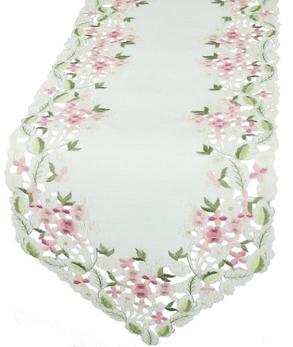 Xia Home Fashions Fairy Garden Embroidered Cutwork Spring Table Runner, 15 by 54-Inch