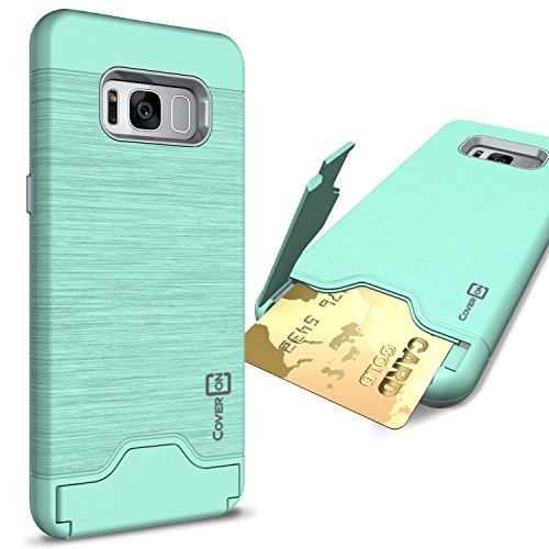 CoverON SecureCard Series Case for Samsung Galaxy S8 Plus, Credit Card Holder Hybrid Phone Cover with Faux Brushed Metal Design - Teal