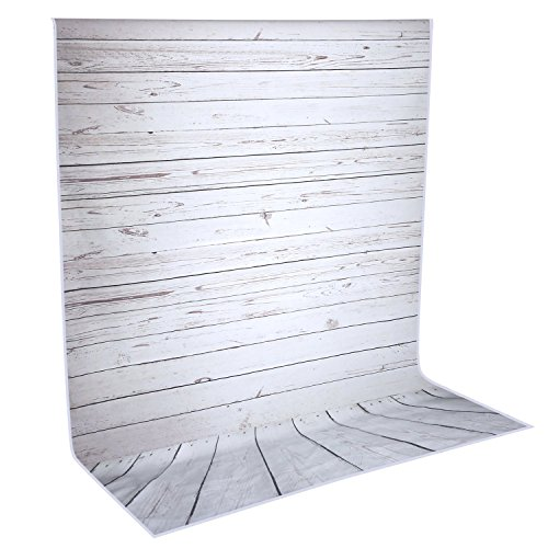 Neewer 5x7ft/152x213cm Light Grey 100% Polyester Wooden Backdrop Background for Photography Studio Video Shooting (Backdrop Only!) by Neewer
