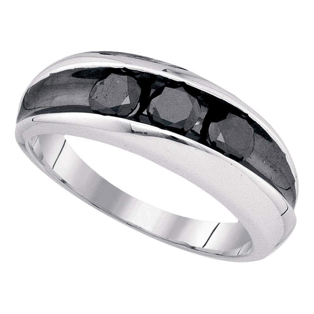 Sterling Silver Mens Round Black Color Enhanced Diamond 3-stone Band Ring 1.00 Cttw