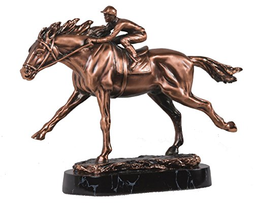 C1235D Medium Copper Jockey Racing On Horseback Decorative Figurine, 10