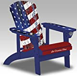 Spring Sale Save $125 Vintage Flag Style Americana USA Adirondack Patriotic Chair Flag Design Porch Deck Fire Pit with Weather Proof Deluxe Cover