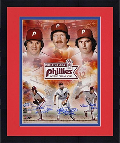 Framed Pete Rose, Steve Carlton and Mike Schmidt Philadelphia Phillies 1980 World Series Autographed 16