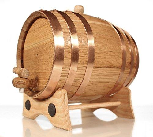 3 Liter Whiskey Oak Barrel for Aging – Golden Oak Barrel with Copper Hoops – Aging and Recipes Digital Guide included