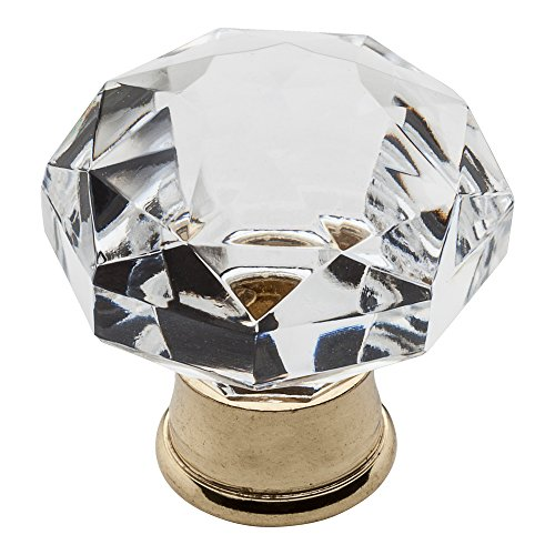 Baldwin Estate 4323.030 Round Crystal Cabinet Knob in Polished Brass, 1.19