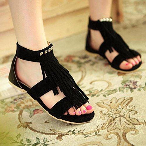 Sandals Yellow Flat Size Black Black Scrub 40 Open Tassel Rivets 43 Toe Shoes Beige Women Large Aq7wTYgaWx