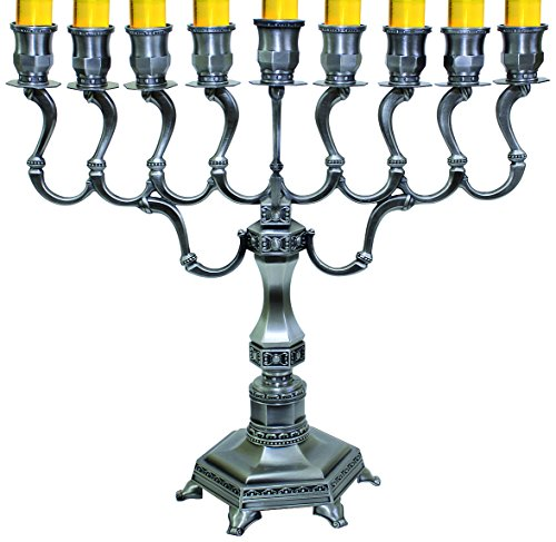 Majestic Giftware MN-HA19402K Hanukkah Menorah, 14-Inch, Pewter (Menorah Hanukkah Light)