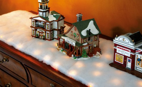 Collections Etc LED Snow Battery Operated Table Runner (Christmas Mantel Scarf)