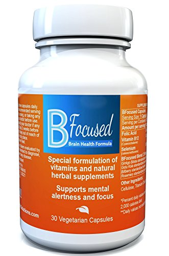Bfocused Brain Booster - Powerful Focus supplements for Concentration Memory and Focus - Focus pills w/b12 Selenium Gingo Biloba Rosemary Gotu Kola & Billberry - Made in United States by BrainHealthSolutions