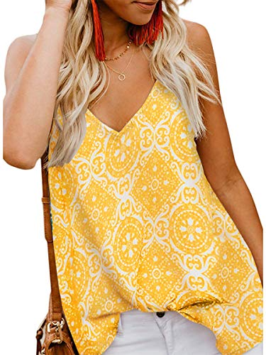 LEANI Women's Floral Print Button Down V Neck Strappy Tank Top Loose Sleeveless Shirts Blouses Yellow