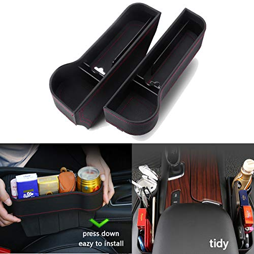 Car Seat Universal Storage Organizer 2 Packs & PU Leather Car Cup Holder & car seat Filler Gap & Card Wallet Cigarette Lighter and Coin Package for car & Trash can for car
