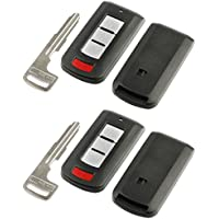 Key Fob Keyless Entry Smart Remote Shell Case & Pad fits Mitsubishi 2008-2016 Lancer / 2008-2017 Outlander, Set of 2