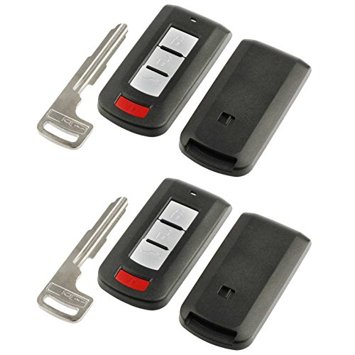 Price comparison product image Key Fob Keyless Entry Smart Remote Shell Case & Pad fits Mitsubishi 2008-2016 Lancer / 2008-2017 Outlander,  Set of 2
