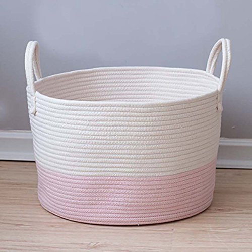 Toys Storage Basket Extra Large Woven Rope Baskets with Handles for Blankets,Clothes,Towels Laundry Basket Nursery Organizer Bins by Dealone