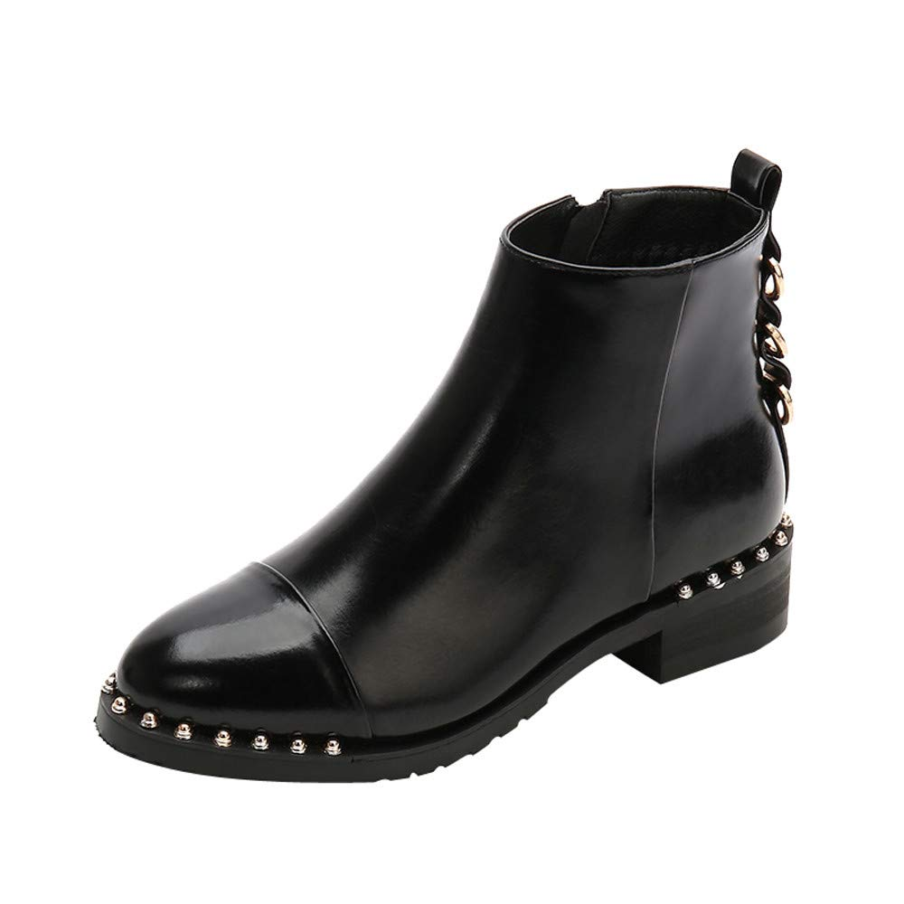 VonVonCo Femme Chaussures Mode Casual Rivet Plat Marta en Cuir Bottines Rondes Orteils Zipper VonVonCo2018080004