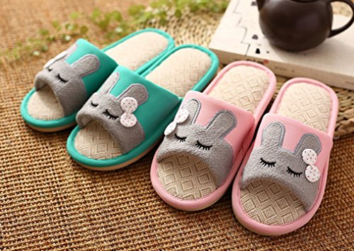 Cattior Womens Cute Flax Bunny Slippers Huis Slippers Groen